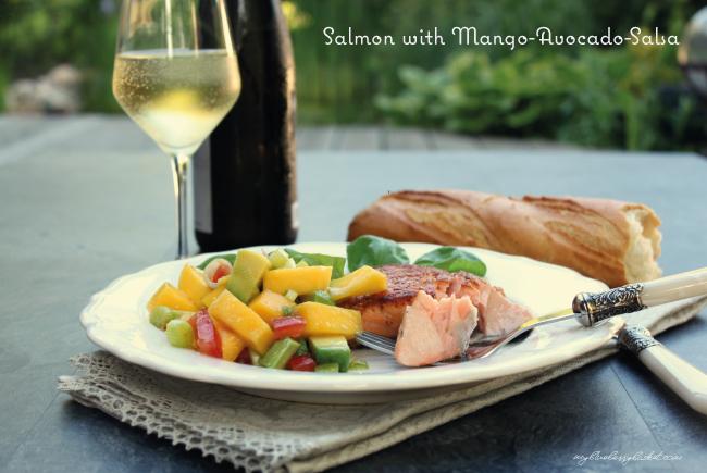 Salmon with Mango-Avocado-Salsa - My Blueberry Basket