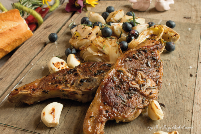photo lamb chops with chicory salad