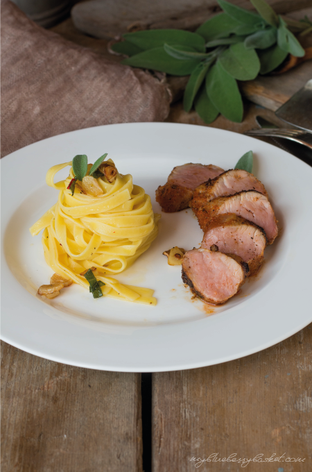 photo pasta with sage and pork filet