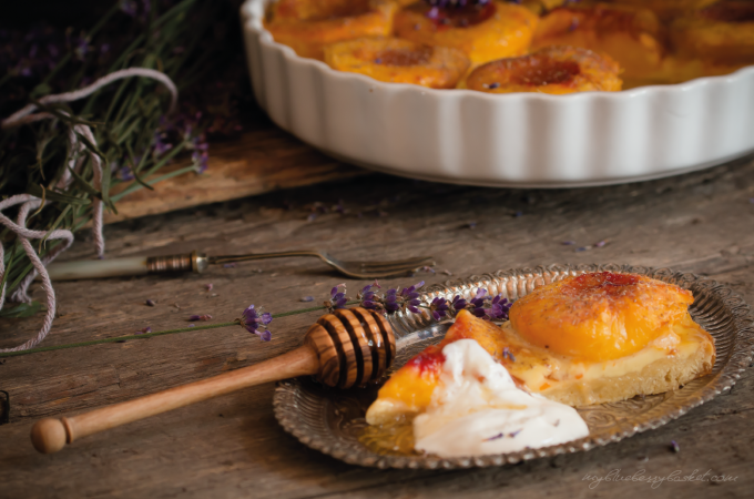 peach tarte with lavender