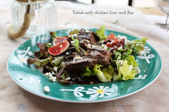 salad with chicken liver and figs