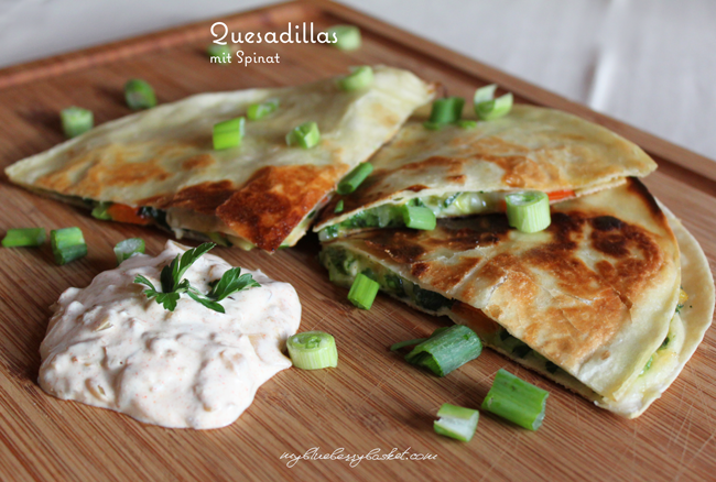 photo of quesadillas with spinach