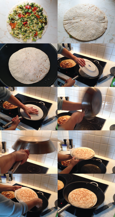 photo of the making of quesadillas