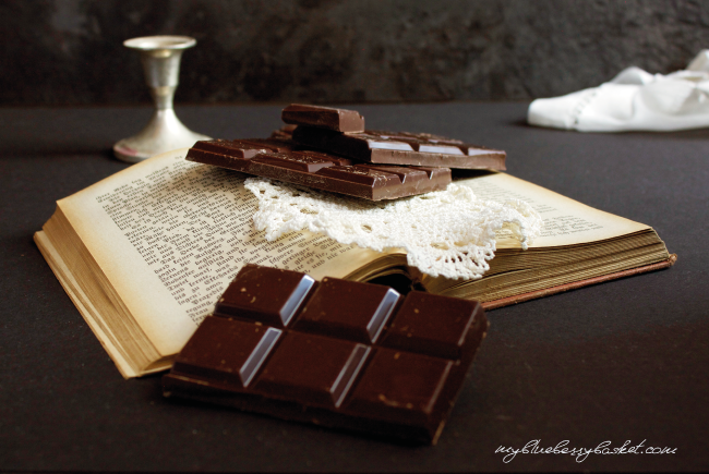 photo of chocolate and a book