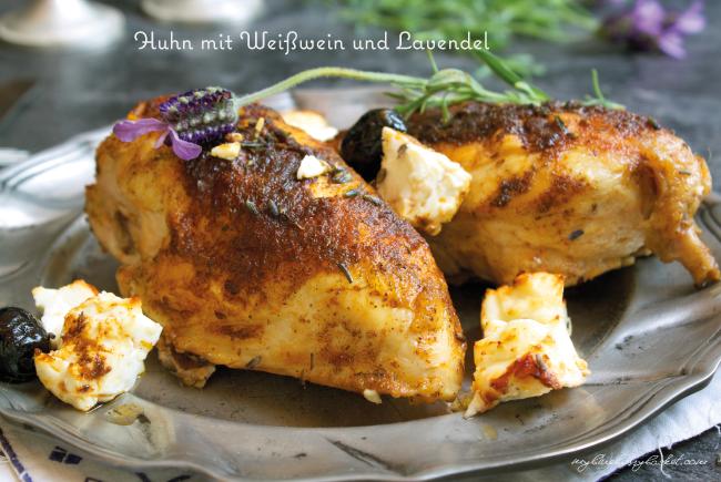 Foto von Huhn mit Weißwein und Lavendel