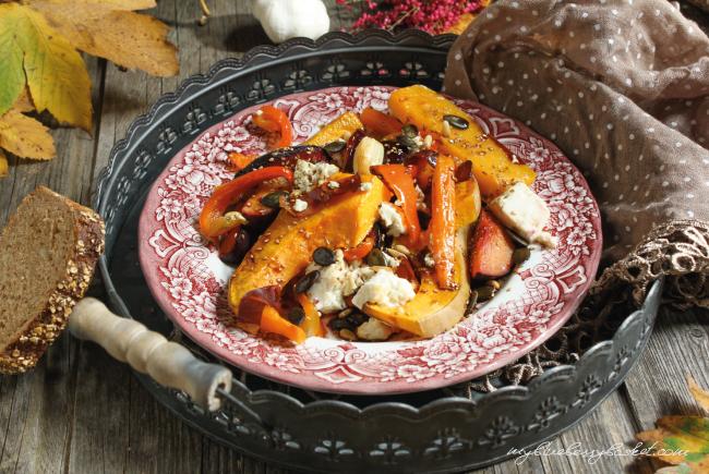 Warmer Kürbissalat mit Feta