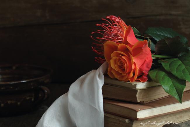 Foto Rosen und Bücher